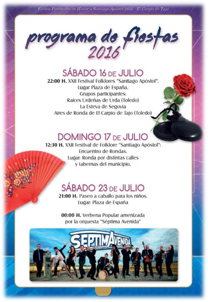 Programa de fiestas 2016 en el Carpio de Tajo en honor a Santiago apóstol Carpio2016_1