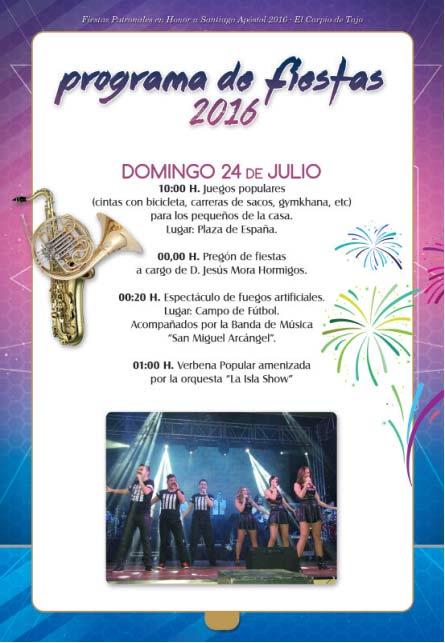 Programa de fiestas 2016 en el Carpio de Tajo en honor a Santiago apóstol Carpio2016_2